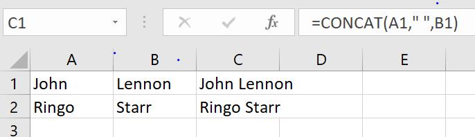 concat function in Excel